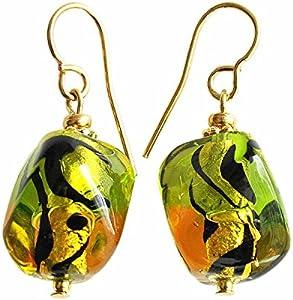 SunTradition - Pendientes de cristal de Murano, color verde y ámbar