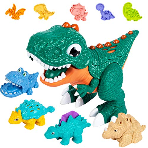 UNIH Dinosaur Playdough Sets for Toddlers, Dinosaur Toys for Kids 3-5 with Molds for Boys Girls