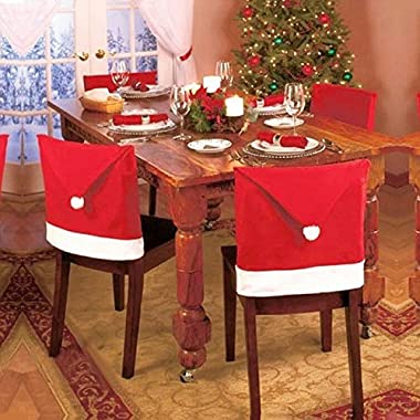 Chair Xmas Cap ,BeautyVan 1pcs Santa Red Hat Chair Covers Christmas Decorations Dinner Chair Xmas Cap Sets