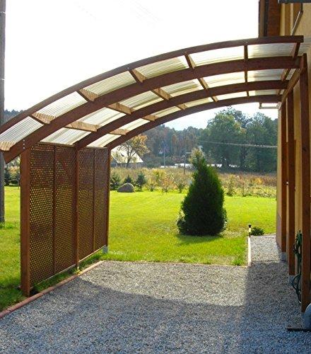 Jardinion Carport Ludlow semi-transparent PVC transparent 560 x 284 x295cm - Bausatz, Wetterfest, Hochwertiges Holz