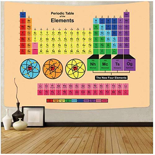 KBIASD Tabla periódica de los Elementos Química Tapiz Colgante de Pared Barato Gran Ciencia Arte de la Pared Lienzo Decoración de la Pared Decoración para el hogar 200x150cm