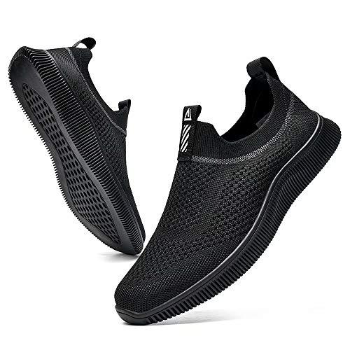MrToNo - Scarpe da ginnastica da uomo, traspiranti, in rete, per palestra, sport, corsa, scarpe leggere, scarpe da trekking casual, Nero , 46 EU