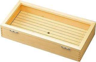 ヤマコー 日本製 ネタ箱 (長) 目皿・アクリル蓋付 60×30×12cm 業務用 木製 白木 35627