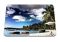 26cmx21cm マウスパッド (熱帯のビーチヤシの木海岸砂海雲長椅子) パターンカスタムの マウスパッド