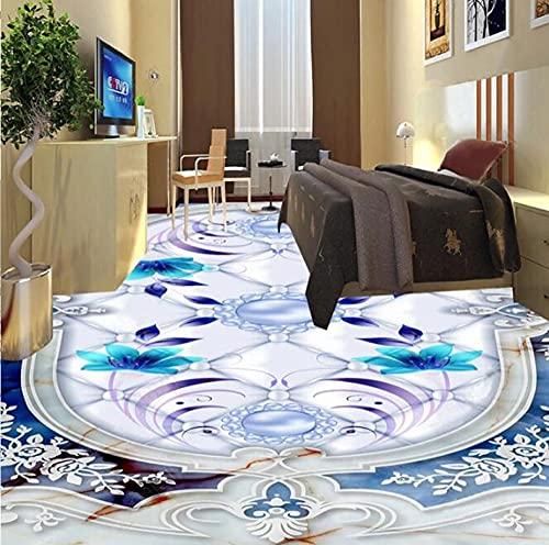 Pintura de suelo de mármol azul Pvc autoadhesivo impermeable Mural 3D azulejos papel tapiz para suelo cocina baño pegatinas-350 * 245Cm