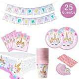 Unicorn Themed Party Supplies Set - Serves 25, Unicorn Birthday Plates, Cups, Napkins, Banner, Straws and...