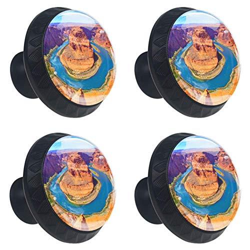 TIKISMILE Colorado River Schubladenknauf, Kristallglas, kreisförmig, Schrankknöpfe mit Schrauben, für Zuhause, Büro, Schrank (4 Stück)
