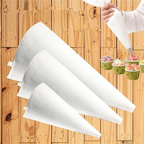 CFtrum 3 Taille Tissu Piping Bag Réutilisable Glaçage Piping Crème Pâtisserie Sac Cake Décoration Outil DIY