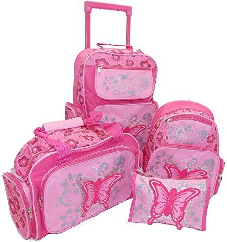 STEFANO Kinder Reisegepäck Schmetterling pink rosa -präsentiert von RabamtaGO®- (Set 4 teilig)