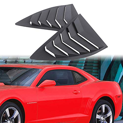 Dixuan Auto Parts Rear Side Window Louvers for 2010-2015 Chevy Camaro LS LT RS SS GTS, ABS Window Scoop Cover Vent Lambo GT Style