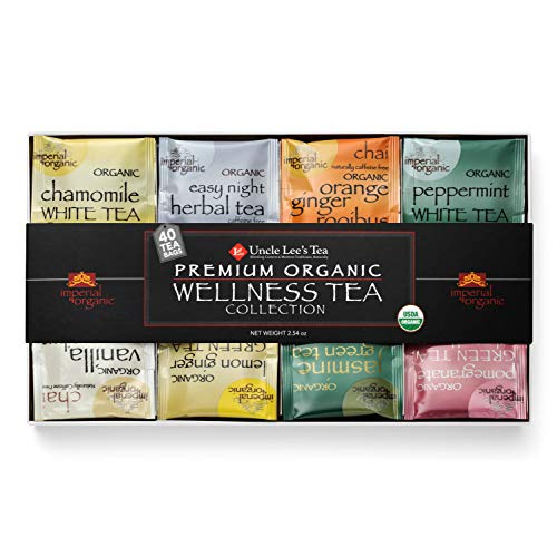 Uncle Lee's Tea Premium Organic Wellness Tea Collection | Sampler Pack of Traditional and Caffeine-Free Varieties (40 tea bags)