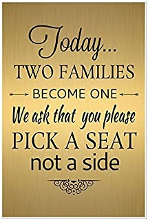 Gold and Black Today Two Families Become One Wedding Sign Poster