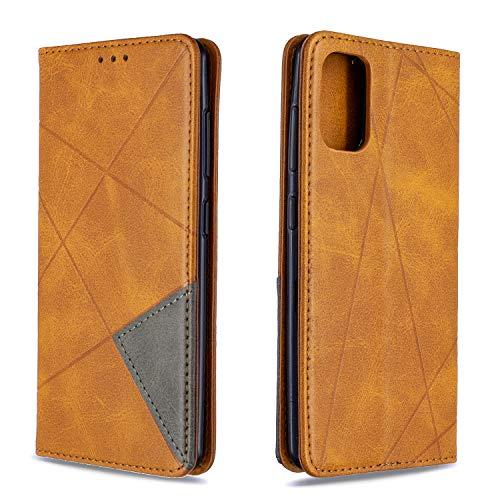 Hülle für Galaxy A41 Handyhülle Schutzhülle Leder PU Wallet Bumper Lederhülle Ledertasche Klapphülle Klappbar Magnetisch für Samsung Galaxy A41 - ZIBF090181 Gelb