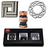 3 Pieces Brain Teaser Metal Puzzle Toy, Handheld 3D Unlock Interlocking Puzzle, Metal Knot Puzzle Mind Games for Adults Teens Educational Toy
