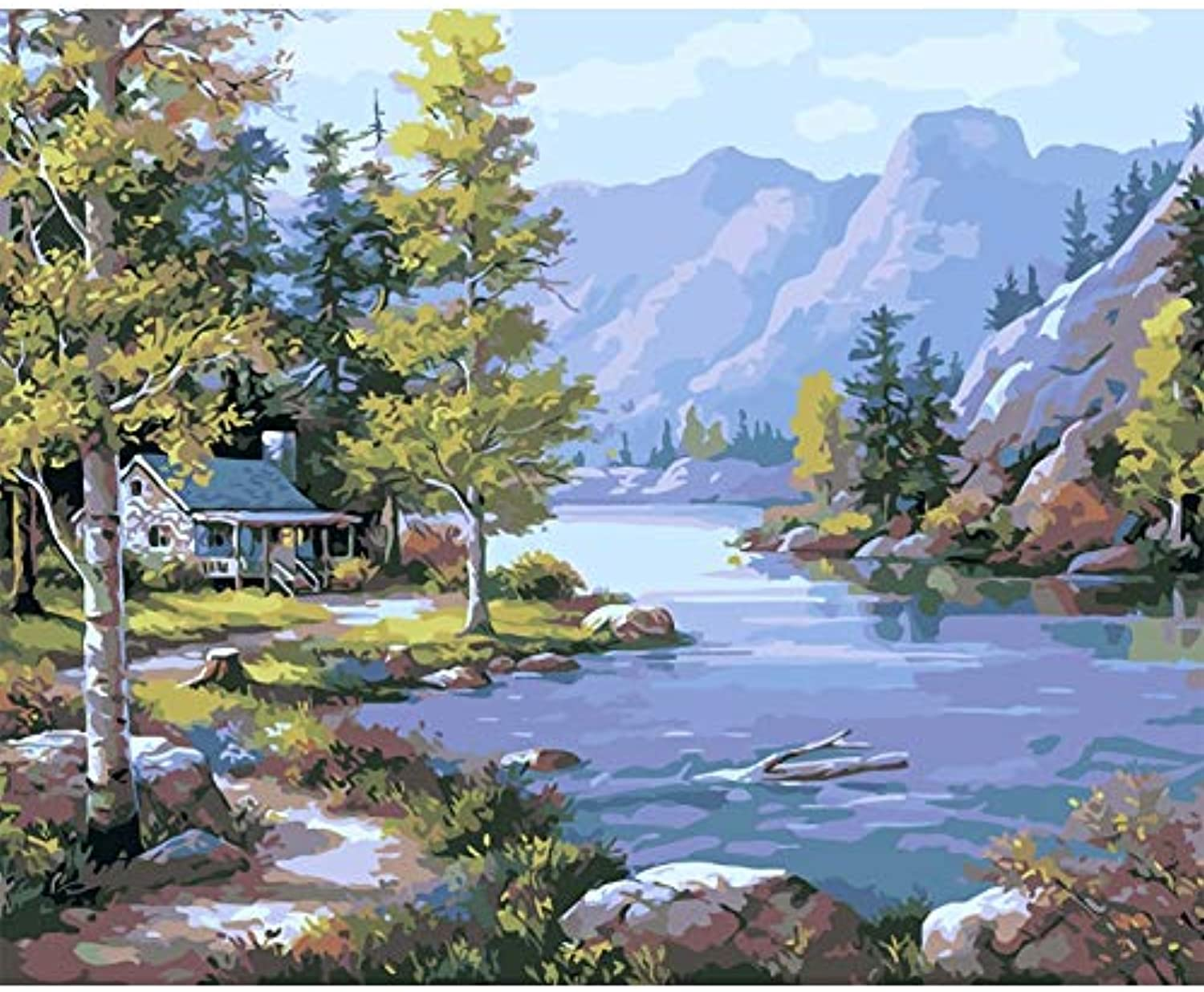 Tuwba Paint by Numbers Adult Kit Riverside Cottage Scenery Beginner Acrylic On Canvas,Framed 40X50Cm