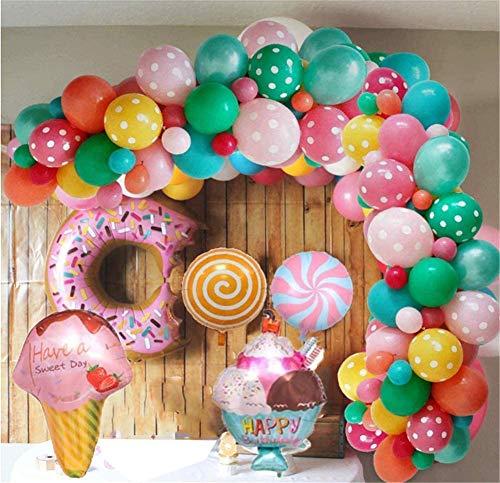REYOK Decorazioni per Feste di Compleanno Candyland, Palloncini Compleanno con Banner di Buon Compleanno, Palloncino Foil Gelato Ciambella Candy per Ragazze Bambini Donna Candyland Lollipop Party