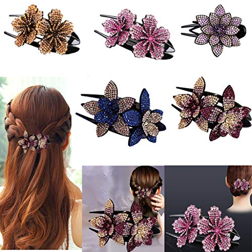 5 Pcs (Large) Rhinestone Crystal Double Flower Women Hair Clip Elegant hair accessories Lady Dovetail Clip Jewelry Accessories Headwear Thick Long Hair Charming Delicate Hairpin flower hairpin