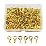 YapitHome 300 Piezas 5×10mm Dorado Pernos de Ojo de Tornillo Ganchos Unids Mini Ojo Pines Tornillos para Resina, Joya, Cuenta y Plástico-2