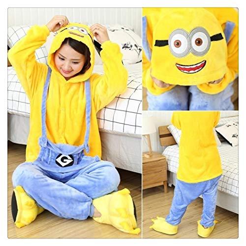 YUNGYE Erwachsene Pyjamas Damen Nachtwäsche Unisex Nette Karikatur-Tier Pyjama Sets Pijamas Kapuze Pyjamas Nachtwäsche (Color : Minion FL, Size : S)