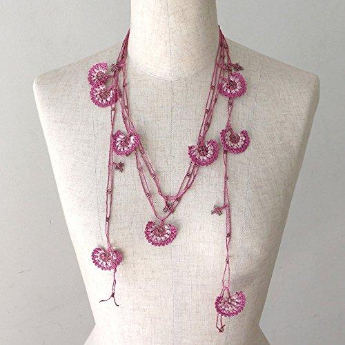 トルコのレース「オヤ」ロングラリエットかぎ針編みのトゥオヤパープル/ピンク