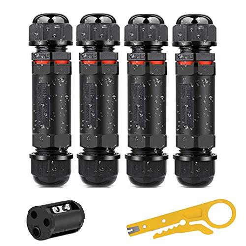 shirylzee 4 pack Caja de conectores conector de cable exterior 3 polos, cable eléctrico de conexiones IP68 impermeable para Ø1mm-13mm diámetro del cable para iluminación de jardines al aire libre