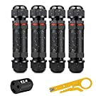 shirylzee Waterproof Junction Box Outdoor Cable Connector with 3-Pole 4 Pack IP68 Sleeve Coupler External for Cable Range 1mm-13mm Electric Cable Junction Boxes Black