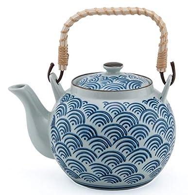Japanese Style Porcelain Wave Crest Pattern Seigaiha Design Blue Ceramic Dobin Teapot with Rattan Handle 38 fl oz Teapot with Stainless Steel Infuser Strainer for Loose Leaf Tea (Tea Pot)