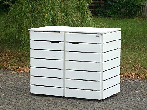2er Mülltonnenbox / Mülltonnenverkleidung 240 L Holz, Deckend Geölt Weiß - 3