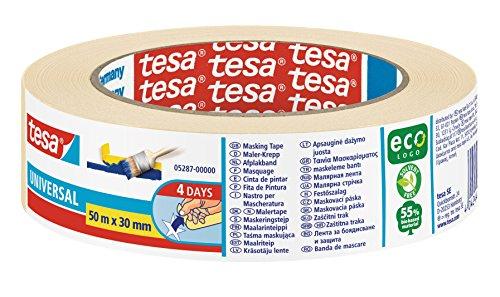 tesa Malerband UNIVERSAL - Vielseitiges Klebeband für Malerarbeiten ohne Lösungsmittel - Bis zu 4 Tage nach Gebrauch rückstandslos entfernbar - Mittel, 50 m x 30 mm