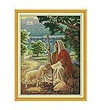 Pintura cruzada Mostrar Jesús pastoreando Conjuntos de punto de cruz contados Kits de punto de cruz Bordado Costura(J,Imagen de 14CT impresa)