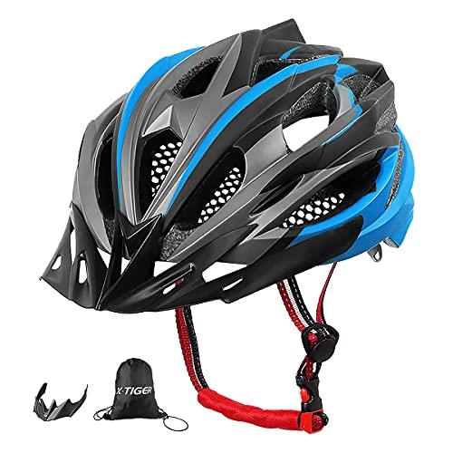 X-TIGER Fahrradhelm MTB Mountainbike Helm mit Abnehmbarem Visier Mountain Road Fahrrad MTB Helme Einstellbare Fahrradhelme für Erwachsenen Herren Damen (Blau)