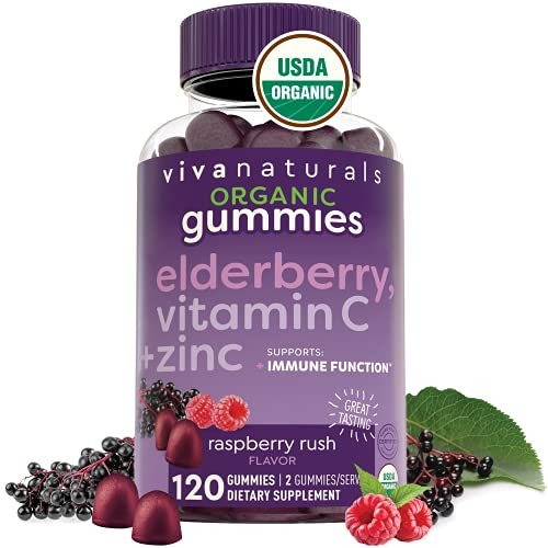 Organic Elderberry Gummies with Zinc and Vitamin C (120 Count) - Two-Month Supply, Certified USDA Organic 3-in-1 Chewable Sambucus Elderberry Gummies, Immune Support Supplement