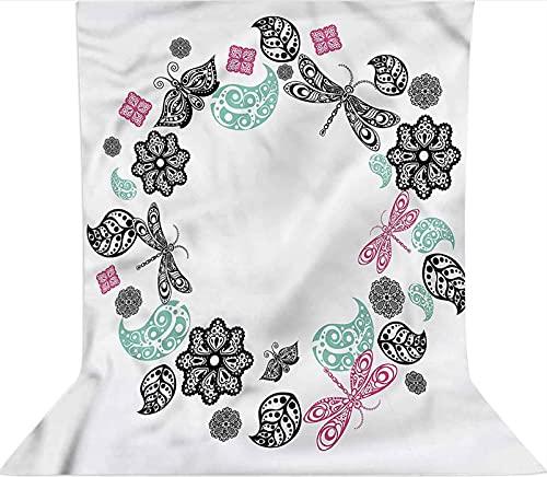 Fondo de fotografía de 1,2 x 1,8 m, telón de fondo de tela de microfibra ornamental floral, con bolsillo para barra (solo telón de fondo) para cumpleaños, bodas, festivales temáticos de fiesta