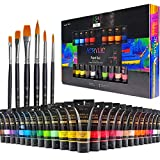 Pintura Acrilica,54 Conjunto de Prima Caja de Pintura Acrílica Incluso 48 x 35ml de Pigmento Acrílico + 6 Pincel, Colores Vibrantes Pintura Acrilica para Papel, Roca, Madera, Cerámica