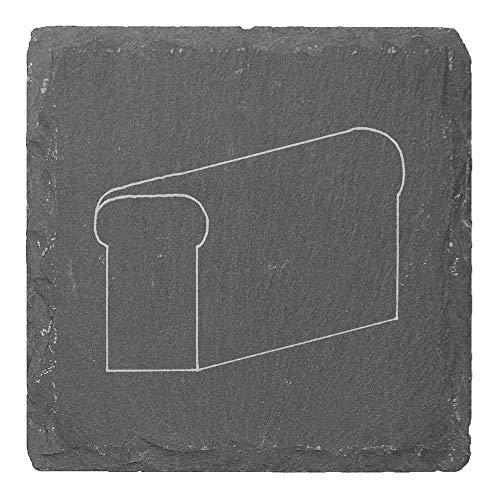 Azeeda 4 x 'EIN Leib Brot' 10cm Quadratische Schieferuntersetzer (CR00182416)