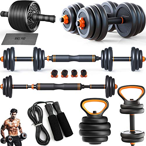 Adjustable Dumbbell Kettlebell Barbell Bar Ab Roller Skipping Rope Combo | 66 Lbs / 30 kg Free Weights Set of 2 | 8 in 1 Home Gym Strength Fitness Workout for Men Women | Push Up Handles Pair