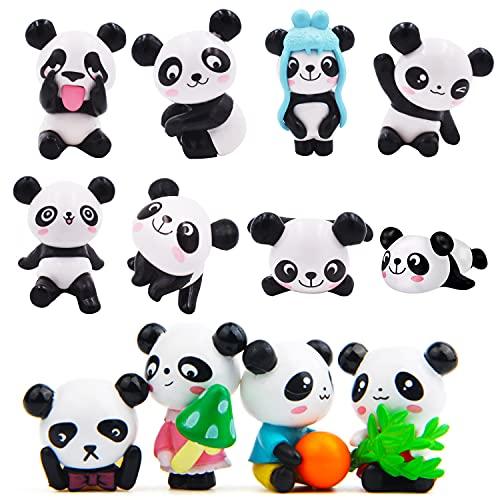 Ksopsdey 12 pcs Adorno de Torta de Panda Figuras de Panda Adornos Jardín Miniatura Mini Figuras Jardín Decoración Panda Miniatura Adornos Kit para Jardín de Hadas Decoración del Hogar