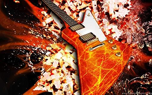 Liedaf Kits de Pintura de Diamantes para Adultos DIY,Arte de Guitarra Diamond Painting Bricolaje Completo Taladro Arte, Diamantes Imitacin Bordado Pegatinas de Pared Decoracin de La Sala(30x40cm)