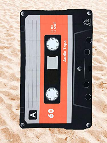 BE CRAZY THE BRAND Toalla de Playa Microfibra Forma de Cassette - Fabricado en Poliéster y Nylon, 147x92 cm.
