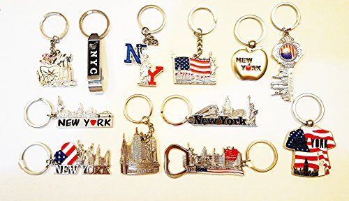 12 Metal NYC Keychains / New York City Metal Key Rings (Statue of Liberty, Empire State Building, World Trade Center)