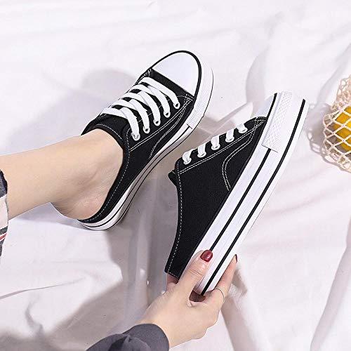 COQUI Slippers Hombre,2020 nuevos Zapatos de Lona Perezosos de Suela Alta Medio Arrastre sin tacón Zapatos Casuales Zapatos de Plataforma Deportiva para Estudiantes de un Pedal-Negro_39