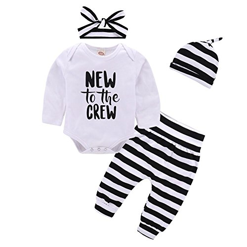 Baby Girl Clothes Set New to The Crew Print Long Sleeve Romper + Striped Pants+Hat+ Headband 4pcs Outfits (0-6 Months, A)