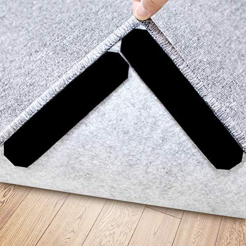 Rug Gripper, 16 Pcs Double Sided Anti Curling Non Slip Reusable Rug Pad, Washable Rug Tape for Hardwood Floors, Tile Floors, Carpets, Floor Mats, Wall (Black)