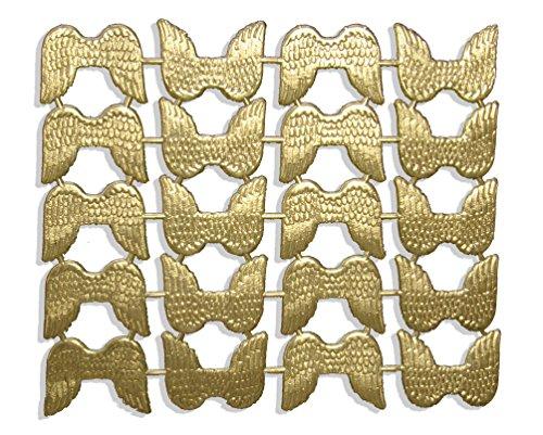 Kunze A067219201 Engelsflügel, 2.5 x 3 cm, 20 Stück, Geprägtes Papier, Gold