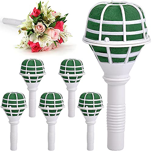 Wedding Bouquet Holder, 6-Pack Bouquet Holder, Fresh Artificial Flowers Holder Decoration Bridal Bouquet, DIY Wedding Foam Bouquet Handle, for Flower Arrangement, Bridal Bouquets for Wedding