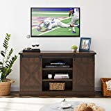 MOOSENG Farmhouse Sliding Barn Door Wood Accommodates up to 60' Flat-Panel TVs Screen Cabinet Television Stand for Entertainment Center| Living Room| Buffet in Your Kitchen|Chipbo, Brown