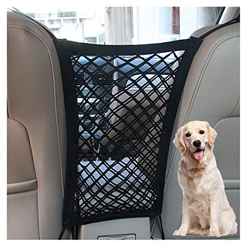 DYKESON Dog Car Net Barrier Pet Barrier with Auto Safety Mesh Organizer Baby Stretchable Storage Bag Universal for Cars, SUVs -Easy Install, Car Divider for Driving Safely with Children & Pets