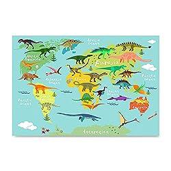 6. EzPosterPrints Kids Animals Funny World Map