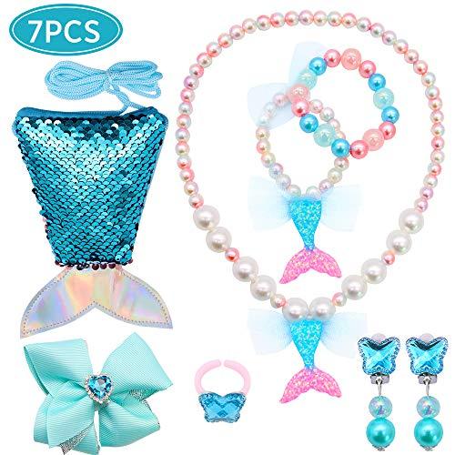 Portemonnee zeemeerminstaart kinderen portemonnee mini crossbody zakken sieraden ketting armband haarclip oorbellen ring voor verjaardag cadeau voor kinderen meisjes
