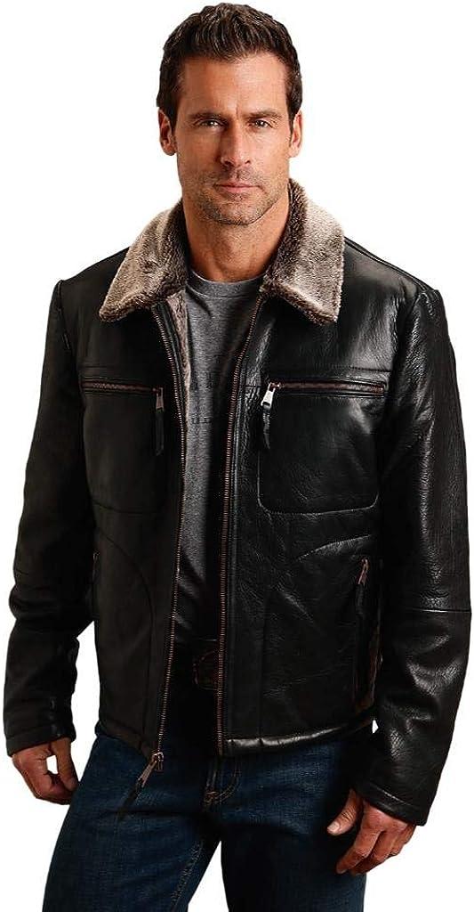 Stetson Western Jacket Mens Leather Zip XL Black 11-097-0539-6628 BL